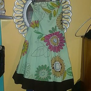TeezeMe strapless dress with flowers & 🦋's sz7
